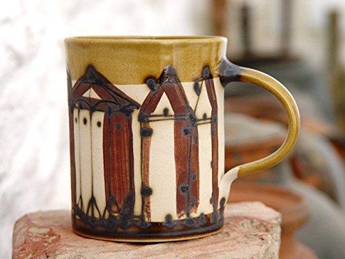 Stoneware Ceramic Coffee Mug with Hand Painted Buildings, European Pottery
