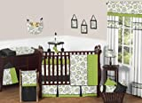 Sweet Jojo Designs Spirodot Lime and Black Gender Neutral Baby Bedding 9 pc Boy or Girl Crib Set