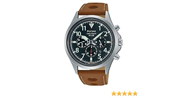 Amazon.com: Pulsar PX5023 43mm Stainless Steel Case Brown Calfskin Mineral Mens Watch: Watches
