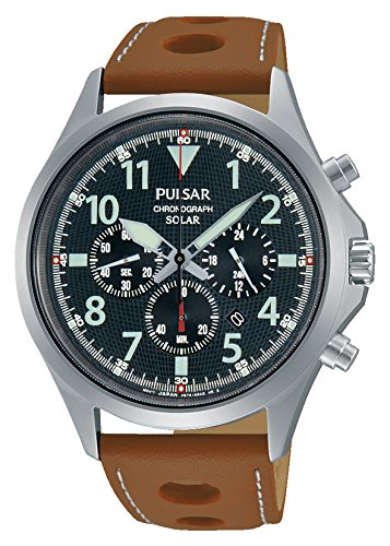 Pulsar PX5023 43mm Stainless Steel Case Brown Calfskin Mineral Men's Watch