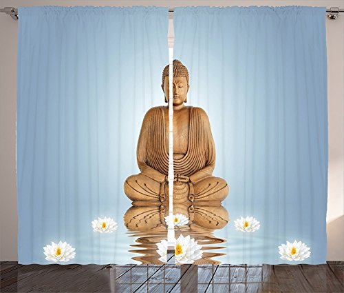 Sculptures Decor Curtains 2 Panel Set Sculpture in Meditation Lotus Lilly Flowers with Reflection on Water Eastern Tranquility