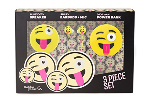 GabbaGoods 3 Piece Tongue Out Emoticon Kids Electronics Combo Gift Set- Gabba Goods Bluetooth Wireless Audio Sound Speaker, In-Ear Emoji EarBuds with Mic, and a 2600 mAh Portable Charging Power Bank