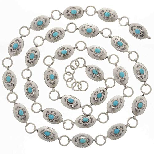 Silver Link Concho Belt - Turquoise Silver Link Concho Belt Navajo Hammered Silver 0237