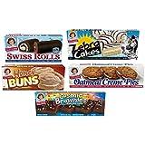 Little Debbie Variety Bundle - Oatmeal Creme Pies, Honey Buns, Swiss Rolls, Cosmic Brownies, and Zebra Cakes