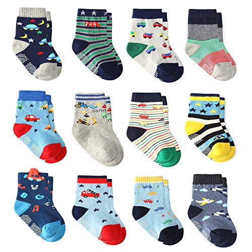 12 Pairs Toddler Boy Non Skid Socks with Grips, Baby Boys Socks Cotton Socks for Kids (12 Pairs, 0-9 - 09 Material