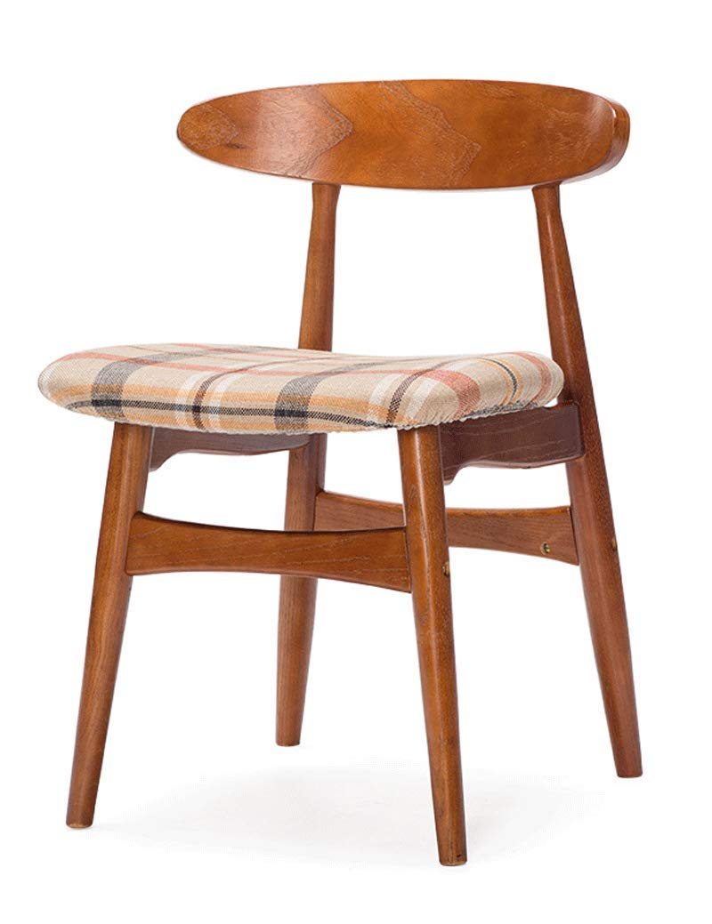 H Dining Chair Solid Wood Back Office Chair Desk Chair Simple Modern Cafe Table and Chair Retro Chair Red Oak Cloth (color   B)