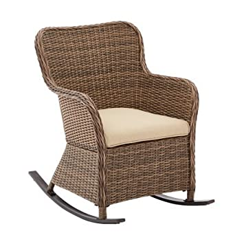 Camrose Farmhouse Wicker Outdoor Rocking Chair, Brown With Gray