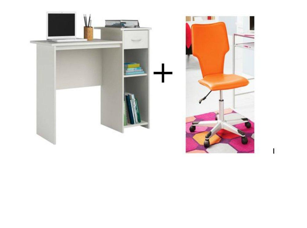 Mainstays Student Desk with Student Office Chair (White Student Desk + Orange Student Office Chair , Bundle Set)