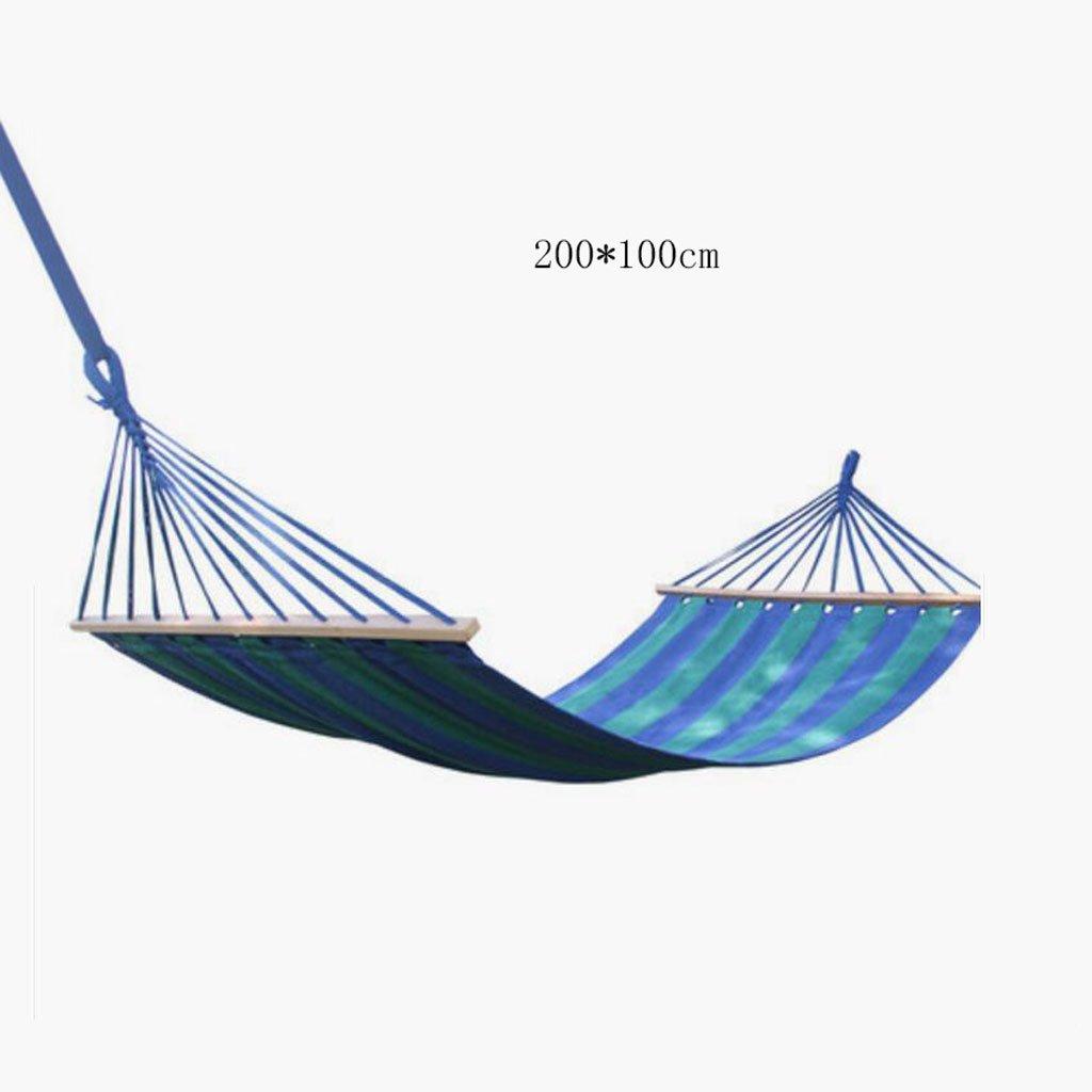 Hängematte Outdoor Hängematte Schlafzimmer Camping Hängematte Massivholz Hängematte Casual einzigen Person tragbare blaue Leinwand Hängematte (200  100cm)