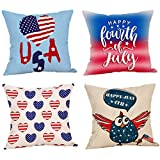 Happy Independence Day Throw Pillow Case Set of 4 Decorative Cushion Cover for Sofa 45cmx45cm