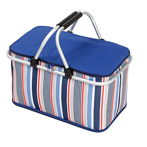 Purchase Cooler Bag Collapsible Insulated Picnic Basket with Zip Closure and Carrying Handles for Pa...