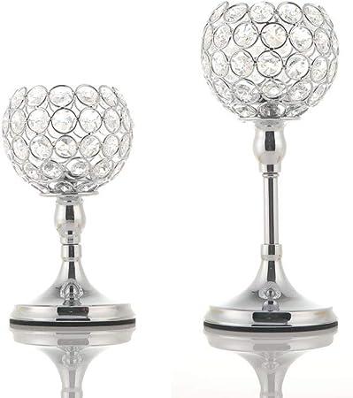 Geburtstags Geschenk Square Silver Kerzenhalter f/ür Hochzeit Tischdekoration VINCIGANT Kristallkerzenhalter