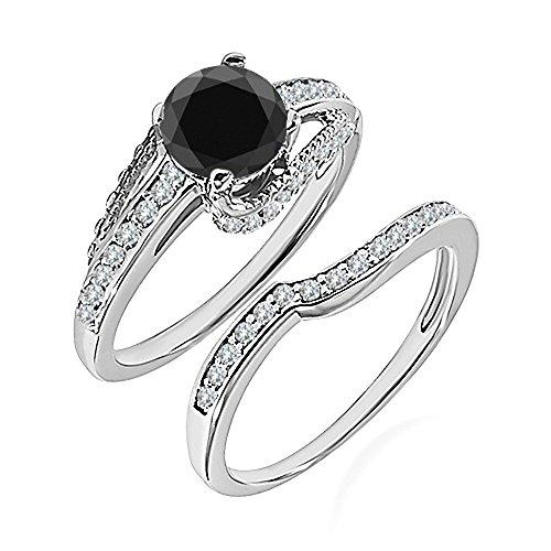 0.99 Carat Black AAA Diamond Engagement Wedding Anniversary Halo Bridal Ring Set 14K White Gold ()