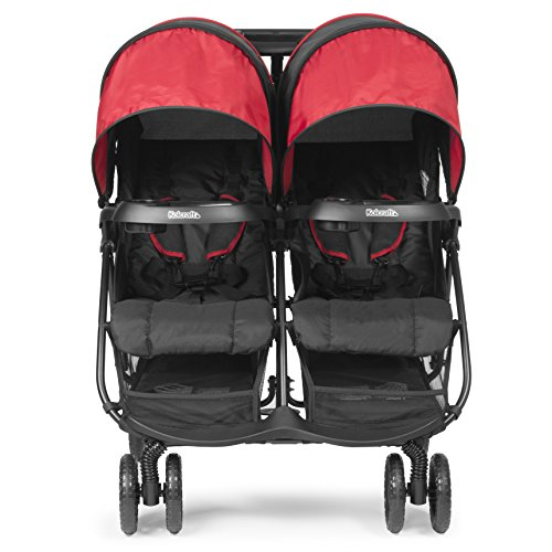 Kolcraft Cloud Plus Lightweight Double Stroller – 5-Point Safety System, Red Black