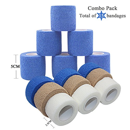 Tight Skin Roll (STpro 15 Pack,2 Inches x 6 Rolls (Blue) 1 Inches x 9 Rolls (Skin Blue White) Self-Adhesive Bandage Vet Wrap Bandage Self Adherent Cohesive Bandage Vet Tape)