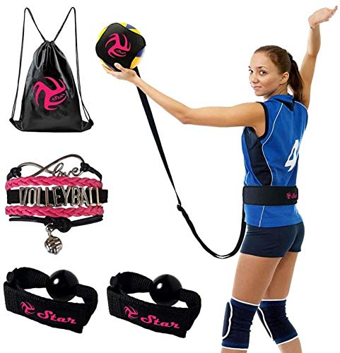 Volleyball Training Equipment Aid - Practice Your Serving, Setting & Spiking with Ease, Great Solo Serve & Spike Trainer for Beginners & Pro (Black&Pink Volleyball Training Kit)