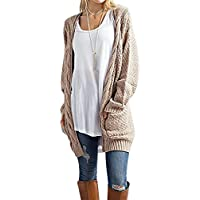 tobrief Chunky de manga larga Cable Knit de la mujer frente abierto chaqueta de punto Outwear Jerséis Con Bolsillos
