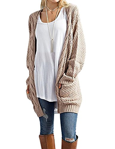 Tobrief Women's Long Sleeve Solid Color Knitted Sweater Long Thick Cardigan, Khaki, X - - Cardigan Open Cable Sweater