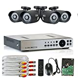 Cheap High End 4 Channel DVR HD 1200TVL 960P Outdoor or Indoor 1.3MP 1280H x 1024V Security Camera System with Pre-Installed 1TB Hard Drive, QR Code Remote Access, Plug and Play