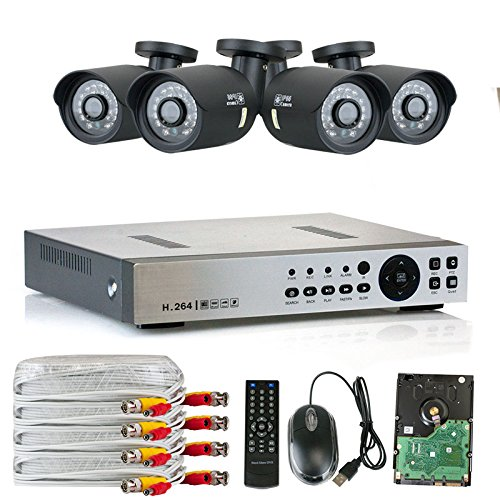 High End 4 Channel DVR HD 1200TVL 960P Outdoor or Indoor 1.3MP 1280H x 1024V Security Camera System with Pre-Installed 1TB Hard Drive, QR Code Remote Access, Plug and Play