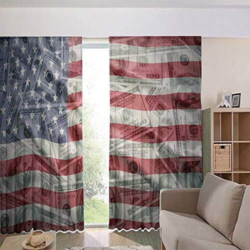 iPrint Blackout Curtains for Kids Room Noise Reducing Thermal Insulated Window Curtain,Dollar on Flag Money Currency Exchange Value Global 84Wx84L Inch