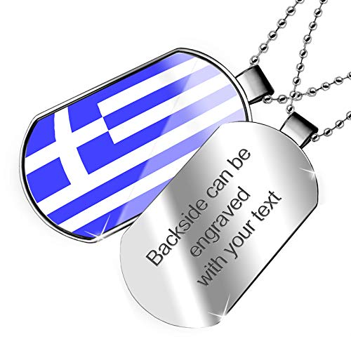 (NEONBLOND Personalized Name Engraved Greece Flag Dogtag)