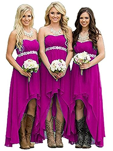 Gowns Wedding High DreHouse Low Strapless Fuchsia Dresses Women' Bridesmaid Party wwqH8Y