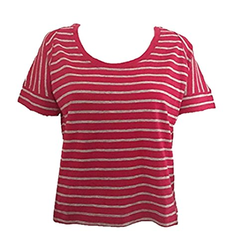 - GAP Ladies Crew Neck Short Sleeve T-Shirt Pink Striped Size XS