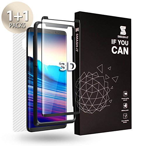 Smash-It Galaxy Note 8 Screen Protector, [Case Friendly Tempered Glass] Screen Protector for Front [Work with S-Pen] [Error Proof Installation] + 1 Piece Carbon Fibre Skin for ()