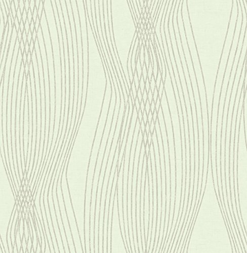 Wallpaper Designer Geometric Cream Wavy Stripe on Cream Hatch