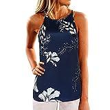 SVALIY Women High Neck Floral Sleeveless Casual Tops Tanks Camis T-shirt Blouse (X-Large, Dark Blue)