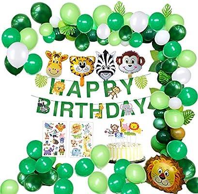 MMTX Selva Fiesta de cumpleaños Decoracion Niño-Feliz cumpleaños Feliz con Hojas de Palma Globos de Latex y Safari Bosque Animal Globos para Niño ...