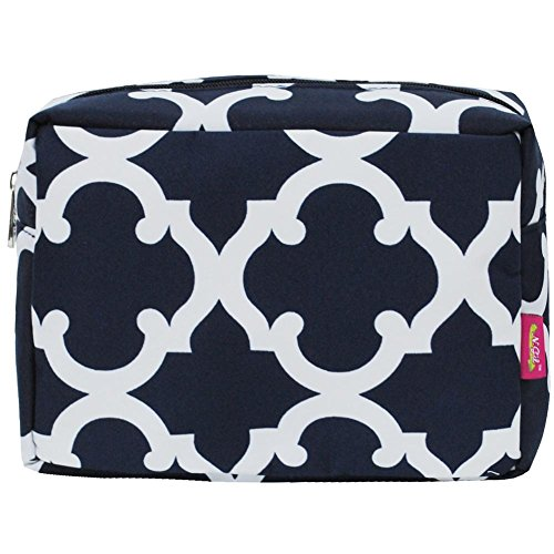 N. Gil Large Travel Cosmetic Pouch Bag 2 (Geo Navy Blue)
