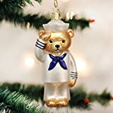 Old World Christmas Ornaments: Navy Bear Glass