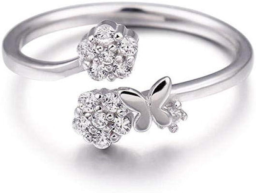 IFMASNN S925 Anillo de Diamante de Mariposa Lindo de Plata de Ley para Regalo de cumpleaños para Mujer: Amazon.es: Joyería
