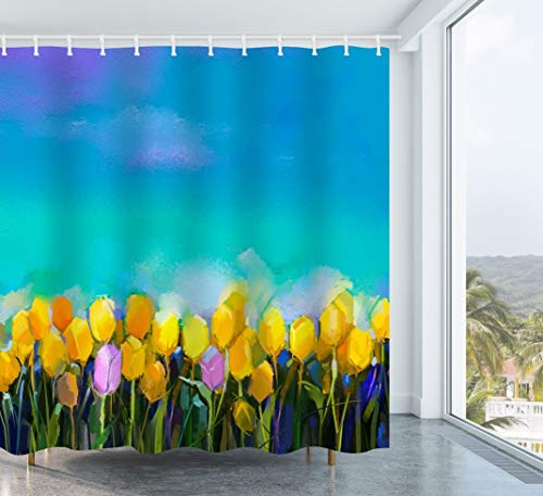 Get Orange Flowers Oil Painting Tulips Flowers Yellow and Violet Tulip Flowers Green Blue Sky Spring Summer Season Nature Waterproof Polyester Fabric Shower Curtain 72X72 Inch