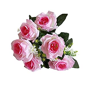 Sympathy Silks Artificial Cemetery Funeral Flowers, Realistic Vibrant 7 Heads Rose, Outdoor Grave Decorations - Non-Bleed Colors, and Easy Fit 55