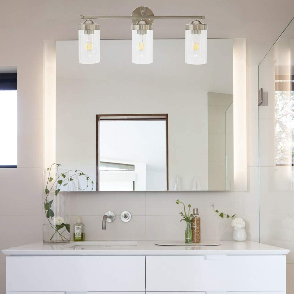 Amazon Com Eluze 3 Light Bath Vanity Lighting Modern Bathroom Lighting With Clear Ribbed Glass And Brushed Nickel Finished Wall Lighting For Bathroom Hallway Bedside Living Room Kitchen Island Home Improvement