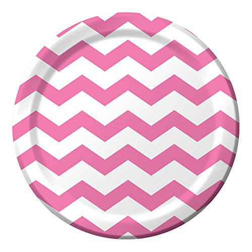 Creative Converting 96-Count Paper Dinner Plates, Chevron Candy Pink (Creative Converting Candy)