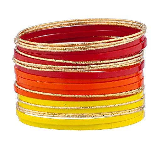 Lux Accessories Red Orange Yellow Goldtone Enamel Multi Bangle Bracelet Bracelet Set (Enamel Bangle Set)
