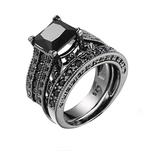 - Ecosin Diamond Ring 2-in-1 Womens Vintage Black Diamond Silver Engagement Wedding Band Ring Set (A)