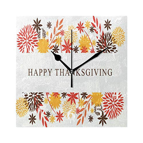 FunnyCustom Square Wall Clock Vintage Thanksgiving Card 7.8 Inch Creative Decorative for Living ()
