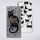 Halloween 2-Pack Black Cat Cotton Kitchen Dish Towels ''Hocus Pocus''