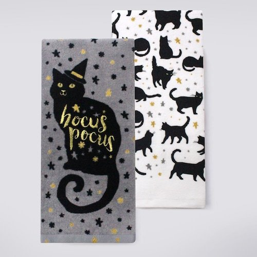 Halloween 2-Pack Black Cat Cotton Kitchen Dish Towels