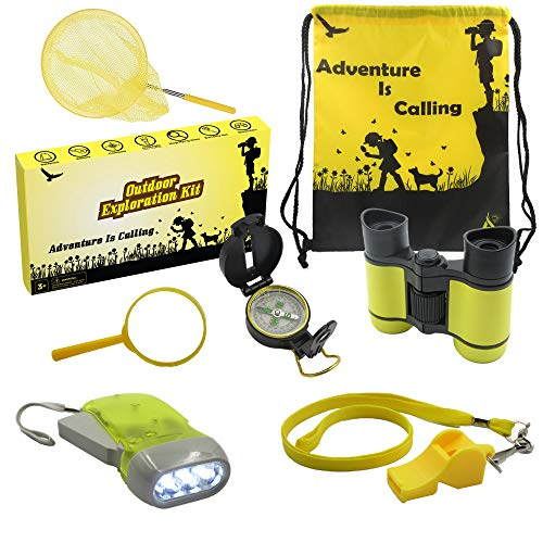 Outdoor Exploration Kit: Kids Adventure Set - Children's Toy Binoculars, Compass, Flashlight, Whistle, Magnifying Glass, Butterfly Net, Backpack - Educational Gift for Hiking, Camping & Pretend Play