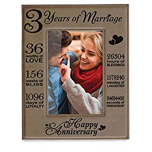 Kate Posh - Our 3rd Wedding Anniversary, 3rd, 3 Years Anniversary, 3 Years  of Marriage, Gifts for Couple, Third Anniversary - Engraved Leather Picture