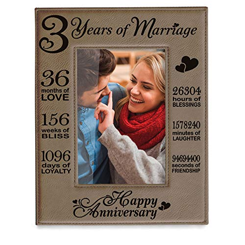 Kate Posh - Our 3rd Wedding Anniversary, 3rd, 3 Years Anniversary, 3 Years of Marriage, Gifts for Couple, Third Anniversary - Engraved Leather Picture Frame (5x7 Vertical)