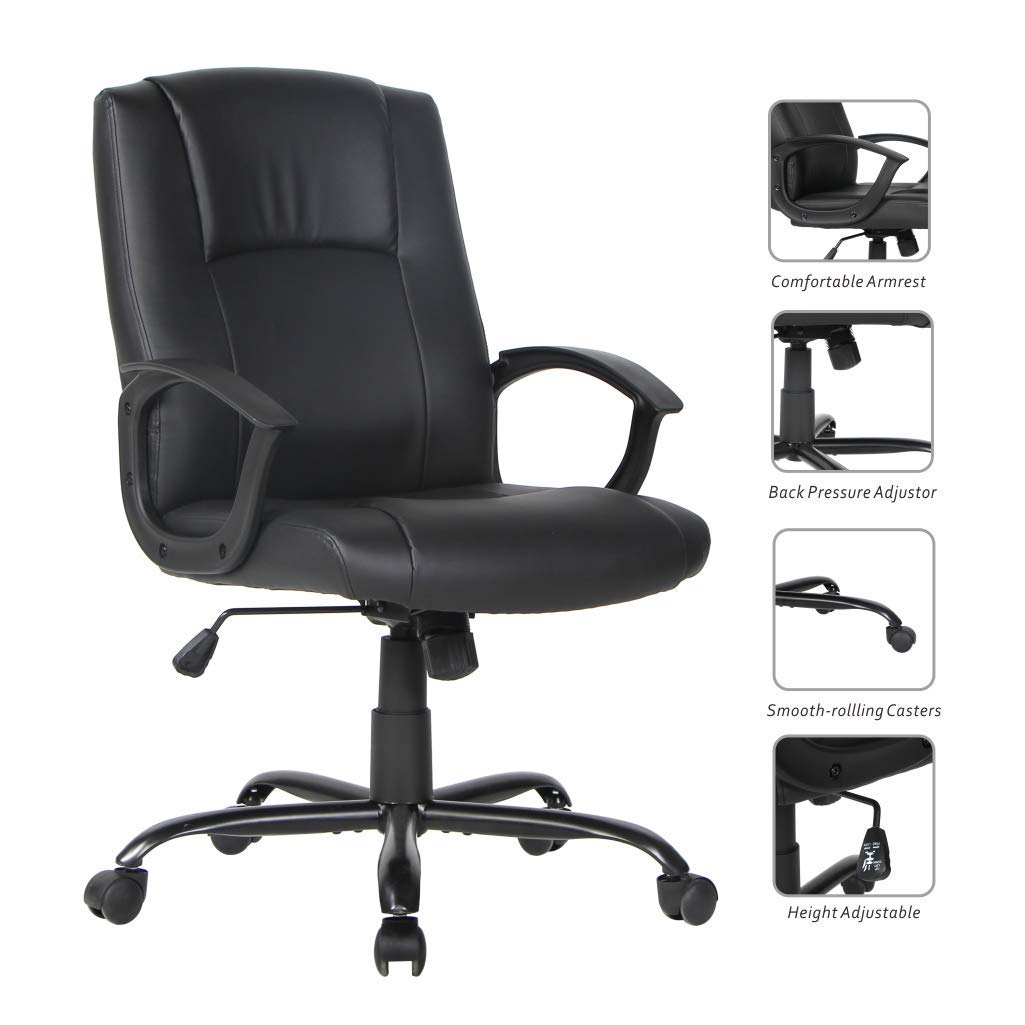 Smugdesk Office Ergonomic Office Chair Executive Bonded Leather Computer Chair, Black by Smugdesk (Image #4)