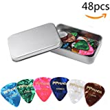 Guitar Picks 48pcs,PPpanda Guitar Plectrums For Your Electric, Acoustic, or Bass Guitar Thin, Medium, Heavy 0.46 0.58 0.71 0.84 0.96 1.2mm