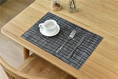 Topotdor Placemats set of 6 PVC Non-slip Insulation Stain-resistant vertical stripes Placemats for Home, Kitchen,Office and Outdoor (Set of 6, Black) by Topotdor (Image #8)